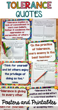Use character traits quotes to help your students understand, learn, reflect, and connect in new ways. These tolerance quotes posters and printables are perfect for a bulletin board display and will engage any 4th grade class and above. This product contains 10 quotes posters related to tolerance as well as ten corresponding no prep printables for discussion and reflection.