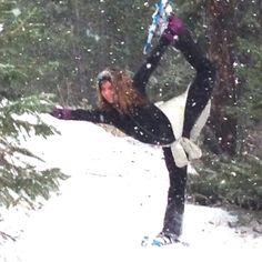 Snowshoeing yoga!