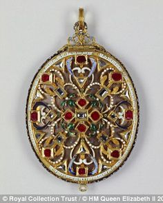 Locket containing hair of Charles I made from gold, enamel, Burmese rubies and diamonds circa 1620 with later additions. To be on display with other items from Tudor and Stuart fashion, at Buckingham Palace.