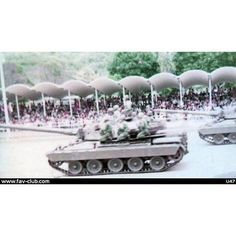 AMX-30B tanks parading in the Paseo de Los Heroes, July 5, 1974.