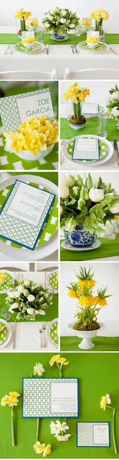 This blue, green and yellow color combination is just screaming spring wedding!    Photo:  Tory Williams