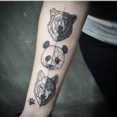 Geometric Tattoos. Animals. Panda Bear. Wolf. Paw Print. IG-lucasm_tattoo