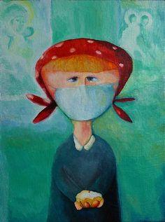 """""""Easter Girl"""" by Andrey Bond., 2009, acrylic, gauze on wood"""