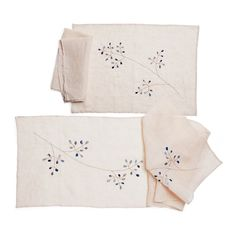 Handmade by women artisans of eastern India,  Placemat, Napkin, and Botanical Table Runner