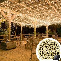 These solar-powered (Warm-White) decorating lights are simply brilliant: Specifics - No energy costs; No outlet needed - 100 lights, 55 feet length / 16m 76cm - Decorate anywhere without dangerous ext