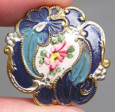 Enamel & Brass Metal Floral Button w/Hand Painted Design