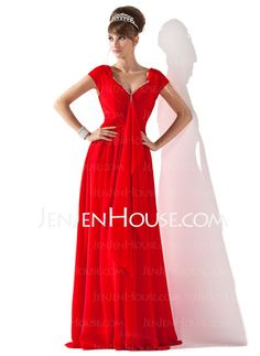 Mother of the Bride Dresses - $120.99 - A-Line/Princess V-neck Floor-Length Chiffon Charmeuse Mother of the Bride Dresses With Ruffle Beading (008013794) http://jenjenhouse.com/A-line-Princess-V-neck-Floor-length-Chiffon-Charmeuse-Mother-Of-The-Bride-Dresses-With-Ruffle-Beading-008013794-g13794