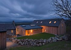 A modern timber and glass structure connects the more traditional stone-walled buildings at either end of this house in the Scottish highlands, designed by architects Stuart Archer and Liz Marinko Old Cottage, Modern Cottage, Modern Farmhouse, Contemporary Cottage, Modern Barn, Cottage House, Cottage Style, Vernacular Architecture, Sustainable Architecture