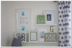 gallery wall made from childs art, and special quotes.