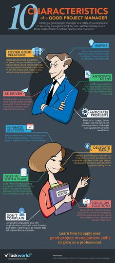 #infographic - 10 Characteristics of a good project manager LINK: #SAGEJournal qualitative study of Project Managers: http://sgo.sagepub.com/content/5/1/2158244015572098