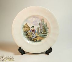 Lovely early English plate by William Smith, WS & Co Wedgewood, pattern No 100 Pastimes from c 1835. Antique polychrome transfer ware from Staffordshire, England. Featuring a lady with a document folder (teacher? courier?). On offer by SoVintastic on Etsy;-)