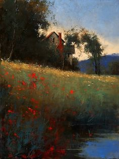 """Romona Youngquist - """"House with Creek"""" oil"""