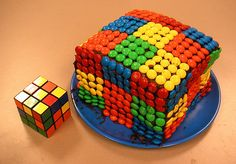 80's party - rubic's cube cake!