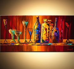 Original Abstract Painting Multicolored Wine by OsnatFineArt, $390.00