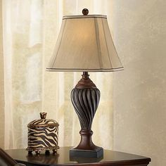 Carved Two-Tone Brown Table Lamp - This is one of many choices of vintage style table lamps at LampsPlus.com