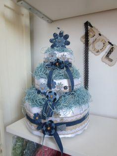 Burlap Denim Diaper Cake  Baby Shower Cake by ItzMyParty on Etsy