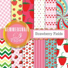 Strawberry digital paper 'Strawberry Fields' fruit digital paper in 12 strawberry red backgrounds