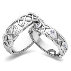 celtic knot wedding 3 stone rings