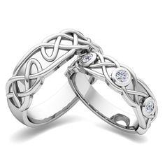 celtic knot wedding 3 stone rings