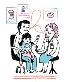 Illustration of a child at the doctor