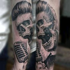 Hairy Skull With Microphone Tattoo Mens Forearms