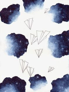 Space Paper Planes Watercolor Art Print by SkyesArtworks on Etsy
