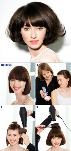 1. Apply mousse evenly to damp hair for added volume 2. Section the top of the hair out of the way and begin to blow-dry the underneath of the hair using a medium round brush for maximum volume. Blow-dry around the underneath of the hair, allowing each section to cool before removing the brush. 3. Use Velcro rollers around the crown area for added volume. Blow-dry the front of the hair forwards to give a soft flick to the front of the hair. Finish with hairspray for hold. #nivea #hair…