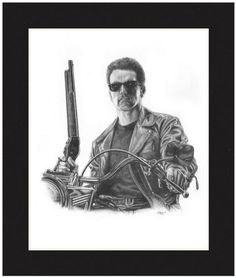 "Terminator -- ""I'll be back!""   ""Hosta la vista, baby.""   Arnold Schwarzenegger's iconic file role, captured by renowned pencil artist Jonathan W. Brown.   http://www.jwbartunlimited.com/products/terminator  $30"