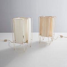 "Pair of ""Kite"" table lamps with metal frames and woven shades - R & Company"
