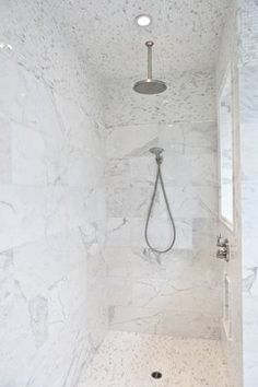 White Marble Shower Design Ideas, Pictures, Remodel, and Decor