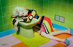Lili Sumner wears colorful looks for Numero 2015 editorial by Miles Aldridge