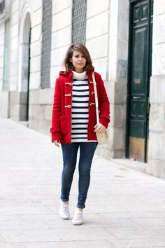 Duffle Coat & Striped Sweater | Collage Vintage