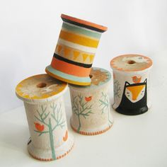 painted cotton spools by Amy Blackwell http://www.amyblackwell.co.uk/ http://www.etsy.com/shop/blackoutwell http://www.flickr.com/photos/blackoutwell/ #DIY #spools #handmade #painting #crafts #art