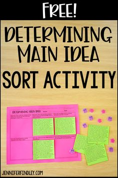 Teaching Main Idea, Teaching 5th Grade, Teaching Reading, Free Reading, Close Reading, Guided Reading, Teaching Ideas, Main Idea Activities, Middle School Activities