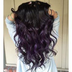 Natural black root-dark grey- purple ombre #balayageombre ...