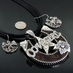 Western Cowgirl Pendant Necklace Set