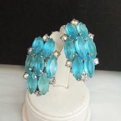 Large Aqua Open-Back Marquise Rhinestone Vintage Clip Earrings | eBay