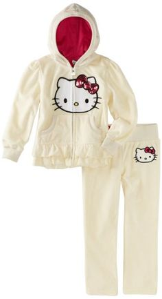 Hello Kitty Girls 2-6x Velour Active Set with Trim (Wonder if they make it in plus size ;-)  )