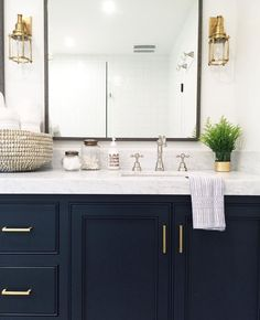 Blue Bathroom Vanity Navy Vanity Gold Hardware Marble Vanity Gold Sconces Styling Home Decor Interior Design Marbles And Vanities Blue Bathroom Vanity Double Sink Bathroom Renos, White Bathroom, Modern Bathroom, Boho Bathroom, Bathroom Vanities, Dark Cabinets Bathroom, Budget Bathroom, Small Bathrooms, Bathroom Fixtures