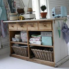Kommode (ähnlich Rollwagen): Schubladen, Kisten und Körbe in Regalfächer, Haken an der Seite