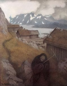 'She Is Making Her Way Through the Country' by Norwegian artist, Theodor Kittelsen. (800×1017)