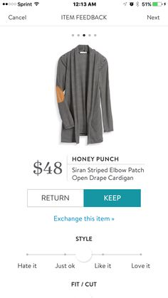 Honey Punch Siran Striped Elbow Patch Open Drape Cardigan