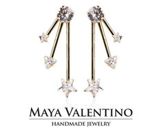 14K Gold earrings designer jewelry prom earring by MayaValentino