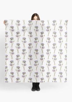 """Lotus Flowers"" Scarf by Savousepate on Redbubble #scarf #clothing #pattern #lotusflowers #white #purple #mauve #pink #blue #green #watercolorpainting"
