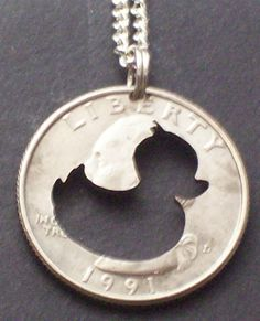 Duck Rubber Ducky Hand Cut Coin Jewelry