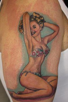 Pinup Girl in Bikini Tattoo by Paris Pierides #tattoo #tattoos #ink #pinup #pinupgirl http://tattoopics.org/pinup-girl-in-bikini-tattoo-by-paris-pierides/