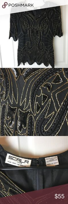 Vintage Sacla beaded top Vintage beaded Sacala black top. Size L. Excellent condition. Long zipper going down back. Scala Tops Blouses