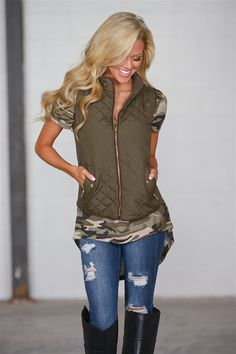 More To Explore Quilted Puffer Vest - Olive from Closet Candy Boutique Apply REPLAUREN at checkout for off your order! Shop the link in my bio or head over to our main page Puffer Vest Outfit, Vest Outfits, Fall Outfits, Casual Outfits, Cute Outfits, Fashion Outfits, Casual Clothes, Fashion Ideas, Fashion Trends