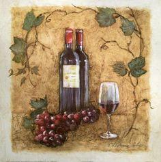 Charlene-Olson-A-Glass-of-Merlot-Fertig-Bild-30x30-Wandbild-Kueche-Wein-Deko