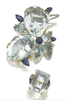 Aquamarine and sapphire brooch and ring by Suzanne Belperron, circa 1965.